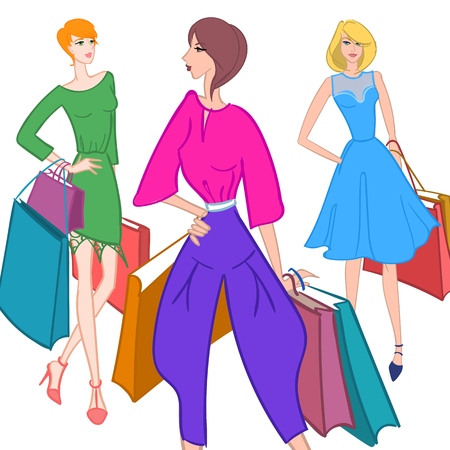 Fasionable girl with shopping bags. Vector illustration.