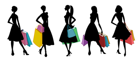 happy woman: Silhouettes of women with shopping bags. Vector illustration. Illustration