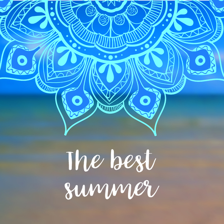 hot: The best summer banner with mandala. Vector illustration