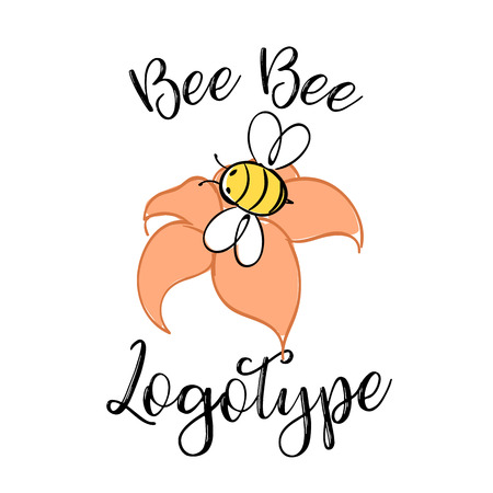 Handdrawn Bee icon with text. Logotype for business. Honey Producer Logo. Vector illustration. Illustration