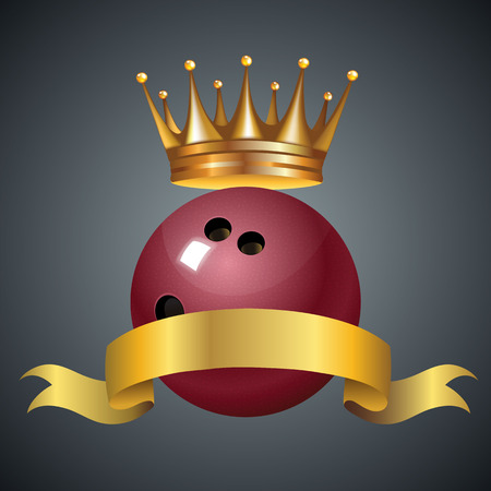 Bowling king champion symbol with a golden crown on a red plastic bowling ball