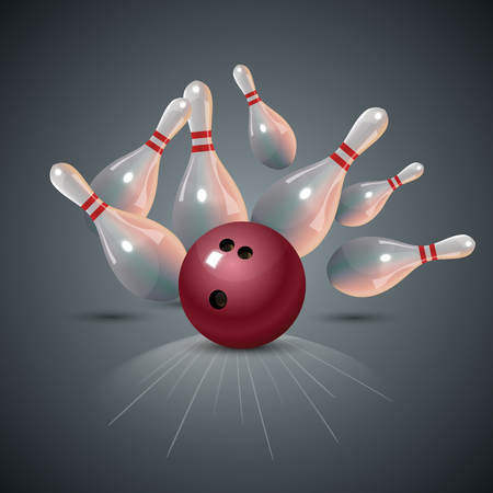 Realistic bowling strike concept on dark gray background.