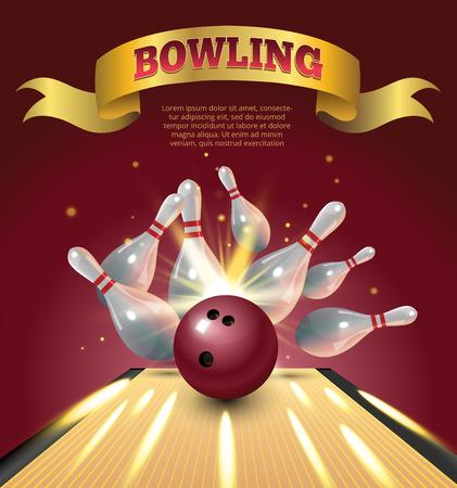 Bowling club poster met realistische bal en kegels en schitter.