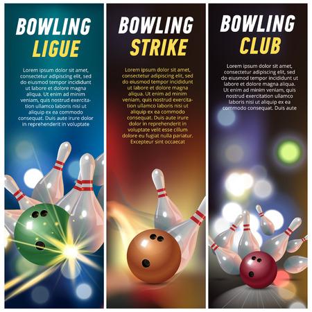 Bowling club banner set Illustration