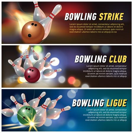 Bowling club banner set. Vector illustration.