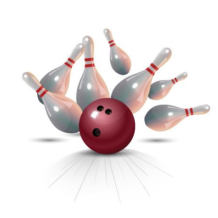 Realistic bowling strike concept on white background.