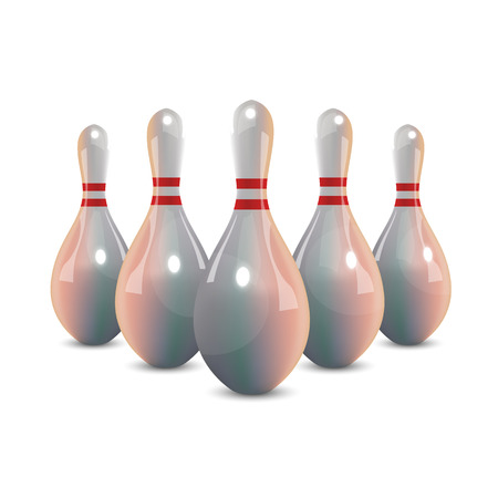 Realistic bowling icon set isolated on white background. Bowling strike with ball Illustration