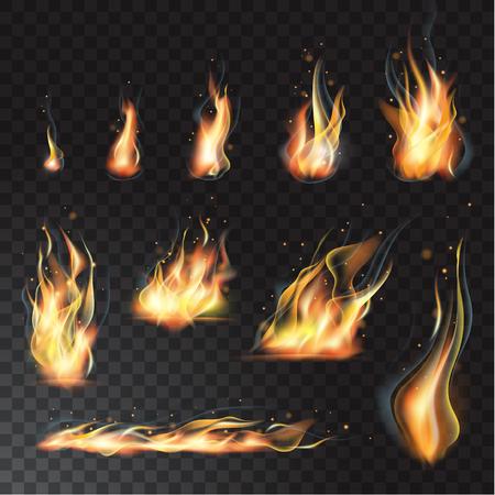 Insieme isolato vettore di effetti di fiamma realistici trasparenti. Sfondo trasparente Archivio Fotografico - 83486569