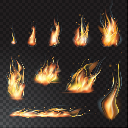 Vector isolated set of transparent realistic flame effects. Transparent background