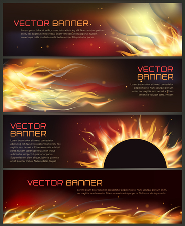 illustration of set of fire flame banner
