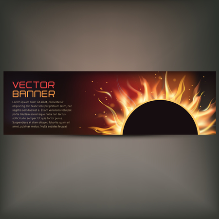 illustration of fire flame banner on gray background Illustration