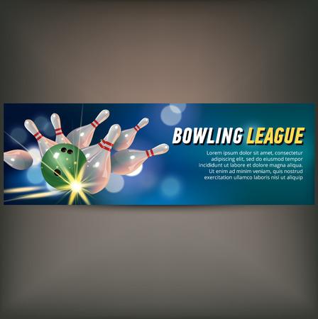 チャンピオン クラブとリーグのシンボル現実的な分離をボウリングとボーリングに水平型バナー