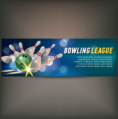 Bowling horizontal banner with bowling champ club and leagues symbols realistic isolated Stock fotó - 83802951
