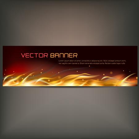 illustration of fire flame banner on gray background Illustration