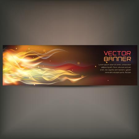illustratie van vuur vlam banner op grijze achtergrond Stock Illustratie