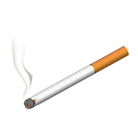 papel filtro: Realistic burning cigarette. Illustration