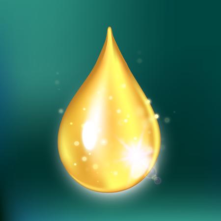 Goutte de collagène de paillettes, goutte d'huile avec des effets isolés sur fond vert. Illustration vectorielle