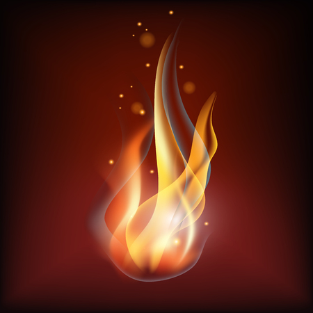 Realistic fire flame vector illustration. Warm brown background Stock Vector - 84216980