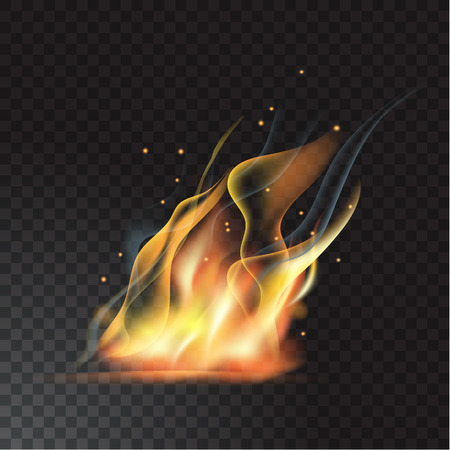 Realistic fire flame Stock Vector - 84273789