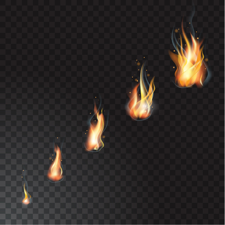 현실적인 화재 불길 세트 일러스트