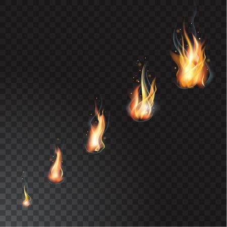 Realistische vuurvlammen set