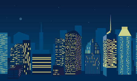 blue city scape with silhouette of tall skyscrapers buildings in seamless pattern design