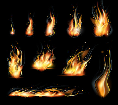 Vector isolated set of transparent realistic flame effects. Black background