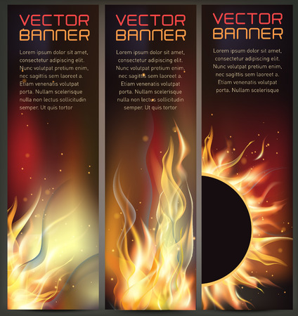 Illustration of set of fire flame banner Stock Vector - 85614881