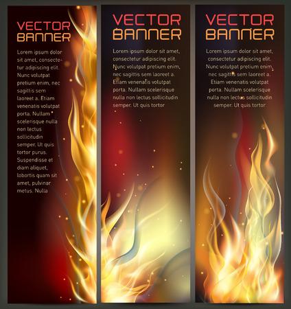 Illustration of set of fire flame banner Illustration