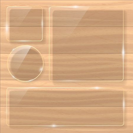 panelling: Wooden texture with glass framework. Vector illustration