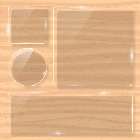 Wooden texture with set of glass framework. Vector illustration Illustration