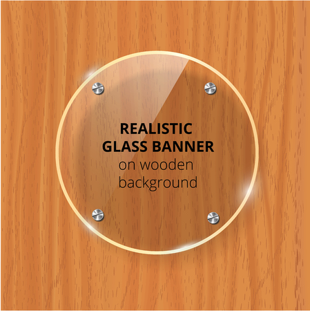Transparent glass plate mock up. Brown wooden background. Decorative graphic design element. Plastic glossy panel with reflection, shadow.