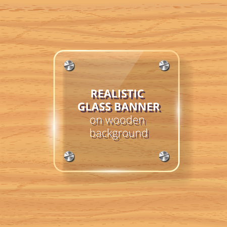 Transparent glass plate mock up yellow wooden background decorative graphic design element plastic glossy panel with reflection and shadow. Ilustrace