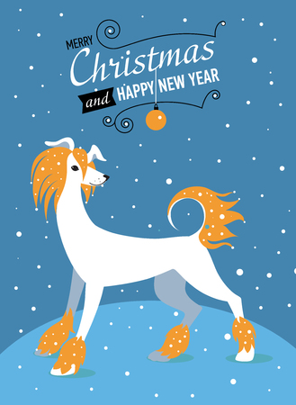 Happy Chinese new year 2018 card with Gold Dog symbol.- Vector Design