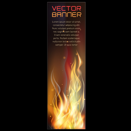 Vector illustration of vertical fire flame banner
