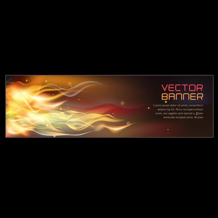 Vector illustration of horizontal fire flame banner. Stock Illustratie