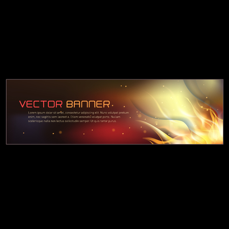 Vector illustration of horisontal fire flame banner Illustration