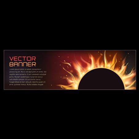Vectorillustratie van de horisontal banner van de brandvlam Vector Illustratie