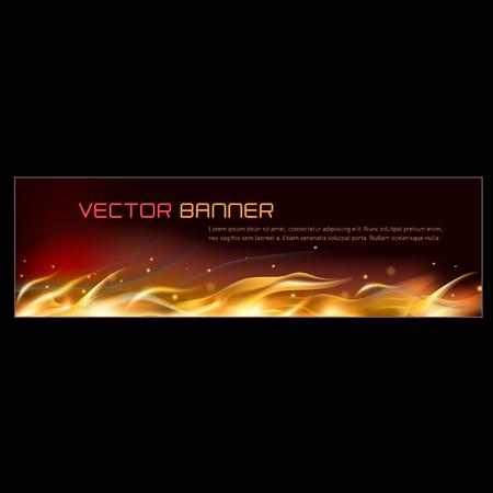 Vector illustration of horisontal fire flame banner Stock Illustratie