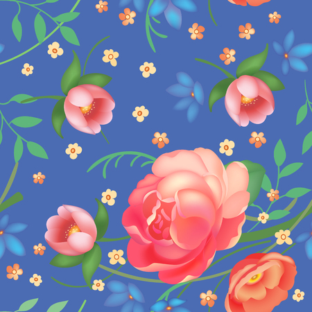 Shabby chic vintage roses, tulips and forget-me-nots vintage seamless pattern, classic chintz floral repeat background for web and print. Vector illustration