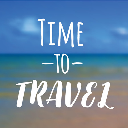 Time to travel. Beautiful Seaside View Poster. Vector background with Typography.