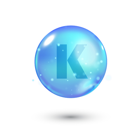 Shiny colored bowl with letter, vitamin, blue capsule. Blue bubble, realistic vector illustration Illustration