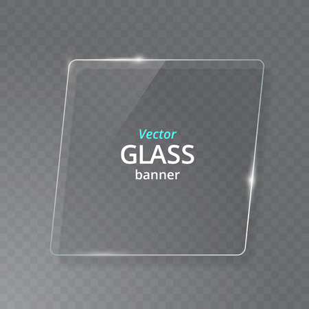 Transparent Glass Plate Mock Up. See through banner. Plastic banner with reflection and shadow.