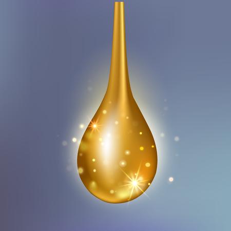 Essenza di goccia di olio di collagene supremo. Goccia di siero splendente in oro Premium.