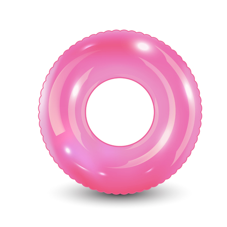 Swim ring. Inflatable rubber toy. Realistic summertime illustration. Summer vacation or trip safety item. Top view swiming circle for ocean, sea, pool. Vector illustration,