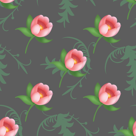 Shabby chic vintage tulips vintage seamless pattern, classic chintz floral repeat background for web and print. Vector illustration Illustration