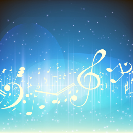 Colorful music background with Music notes Vector illustration
