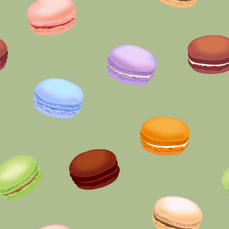 Seamless pattern with colorful macaroon cookies. Vector illustration. Vettoriali