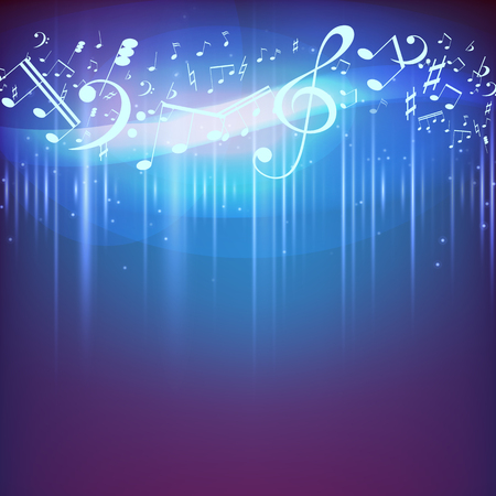 Vector Illustration of an Abstract Background with Music notes. Music background