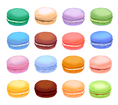 Different types of macaroons. Set of different taste cake macarons. Realistic style, vector illustration.